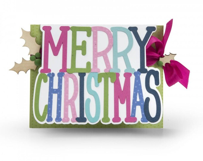 New! Sizzix Framelits Die Set 3PK - Card, Merry Christmas Drop-ins by Stephanie Barnard 662255