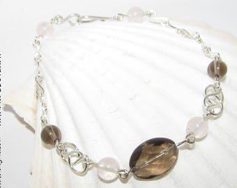 Smoky Quartz and rose Quartz on 935 sterling silver bracelet handmade by Nathalyne