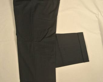 Zanella Thomas Solid Dark Gray 100% Worsted Wool Dress Pleat Trousers Men's Size: 36x33