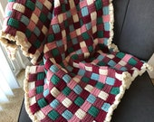 Handmade crochet woven Afghan burgundy rose ssage hunter green ivory