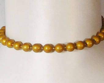 Vintage Faux Pearl Choker Necklace, Gold colored Beads, Collar Choker, 15 inch Choker, Victorian Era Jewelry