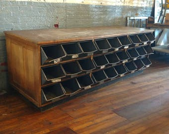Hardware Counter Bolt Bin Apothecary Mercantile Oak Vntg Multi Drawer Industrial Store Decor