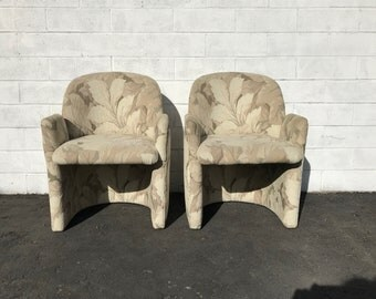 Pair of Chairs Accent Side Lounge Armchairs Tub Barrel Back Mid Century Modern Milo Baughman Style Armchair Regency Vintage Seating MCM