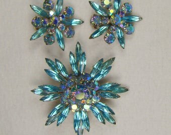 Flashy Vintage Judy Lee Signed Demi Parure ~ Brooch and Clip Earrings