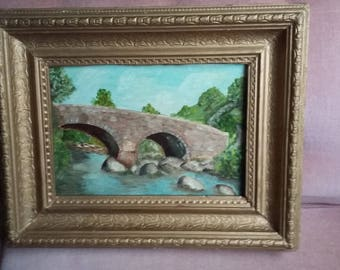 Vintage Oil Painting Bridge and River Chunky Gilt Frame