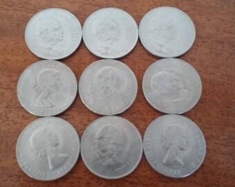 9 Churchill Commemorative Coins 1965.