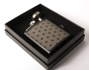Asanoha - Black Stainless Steel Flask