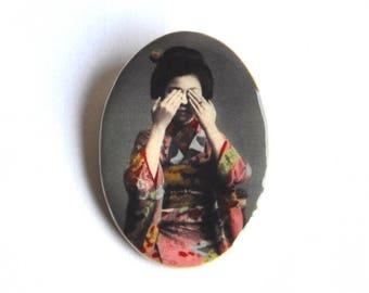 Broche Geisha japonaise de style vintage et rétro / asiatique; bijoux Fimo romantique