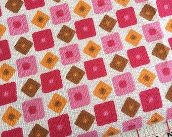 Vintage pink orange cute geometric print cotton fabric 2.2m