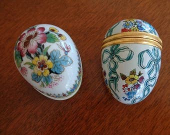 Two Vintage Eggs - Halcyon Days and Coalport