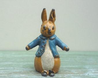 Miniature Peter Rabbit Lead Figure, Timpo Beatrix Potter Figurine, Vintage Britains Era Hollowcast Animal
