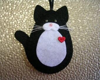 Cat Ornament, Tuxedo Cat Ornament, Black & White Cat Ornament, Felt Tuxedo Cat Ornament, Cat Christmas Ornament