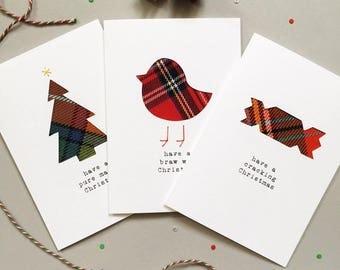Chirsmas cards etsy funny scottish christmas cards scottish tartan cards handmade scottish cards made in scotland m4hsunfo