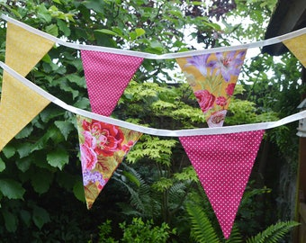 Handmade Fabric Bunting Vibrant Red/Mauve/Yellow Floral with Red White Pin Dot Design 12 Double-Sided Flags for Home, Parties and more!