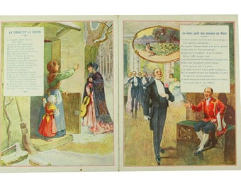 Antique French chromo prints, Jean La Fontaine's Fables, tales chromos