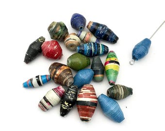 20 handmade Uganda recycled paper beads mix colors,14mm to 18mm #Pa 026