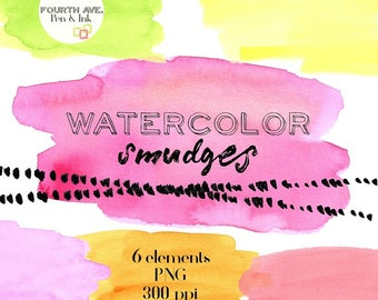 Watercolor Washes Clipart, Bright Watercolor Washes, Watercolor Clipart, Watercolor Texture Clipart, Brushstrokes Clipart