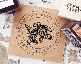 Sea Turtle Gifts, Sea Turtle Stamp, Ocean Address Stamp, Custom Address Stamp, Return Address, Coastal Self-Inking, CS-10331