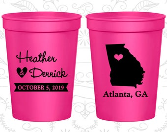Georgia Wedding Cups, Georgia Wedding, Wedding Favor Party Cups, Destination Wedding, State Cups, Plastic Cups (109)