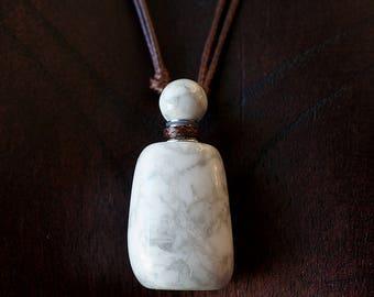 Natural Stone Essential Oil Diffuser Bottle Necklace Howlite , Perfume Necklace, Bottle Pendant, Blue Stone Pendant, White Chakra Necklace