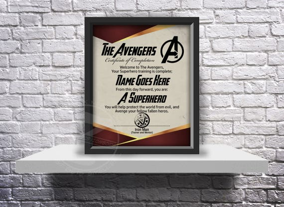 CUSTOM The Avengers acceptance certificate - Choose Inserts, Size, and Frame