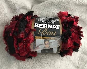 Bernat Boa yarn - Cardinal colorway - Red Black Multicolored Eyelash Yarn - bulky weight - 129 yd