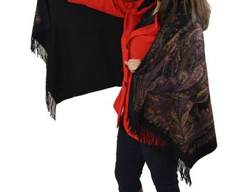 Cashmere Pashmina Group-Cashmere Shawl Scarf Wrap (Solid/Reversible Print w/Real Fur) Onyx