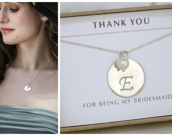 Personalized bridesmaid gift, monogram necklace for bridesmaid, initial necklace bridesmaid - Eloise