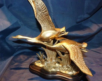 Vintage pair of Canada Geese brass sculpture