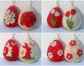 MADE TO ORDER / Felt Easter decoration - felt egg with bunny or flowers, spring home decor, Red Easter eggs - set of 2 or 8
