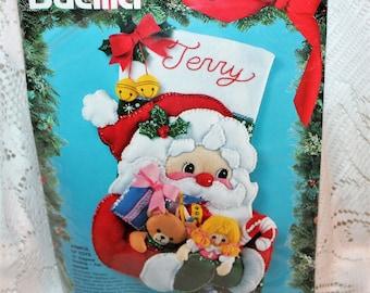 "Bucilla Felt Stocking Arm Full of Toys 18"" Kit 83112 New Sealed Vintage 1994"
