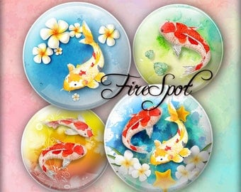 Fish Flowers Koi Animals - Digital Collage Sheet 1.5 inch,1.25 inch,30mm,1 inch,25mm circle Jewelry.Scrapbooking Glass Pendants Bottlecaps
