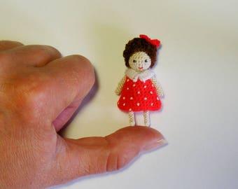 miniature OOAK Doll,  4,5cm doll, Micro Mini Doll, Miniature Crochet Tiny doll, OOAK tiny doll, tiny doll in red dress, Katrusya,