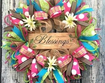 Spring Wreaths for Front Door, Wreaths for Front Door, Storm Door Wreath for Everyday, Deco Mesh Wreaths, Front Door Wreaths Spring Summer