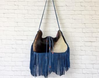 Cowhide Fringe Purse / Leather Purse / Cowhide Fringe Bag / Fringe Purse / Fringe Handbag / Fringe Crossbody