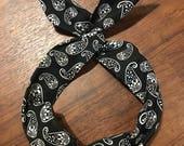 Black bandana print Wire Twist Headband