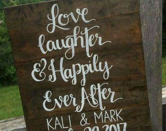 Love Laughter & Happily Ever After Wedding Sign 24 x 32