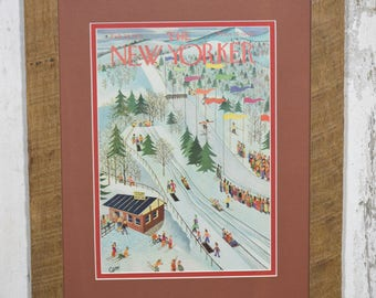 New Yorker cover February 28, 1953 with reclaimed oak boards