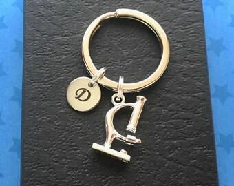 Microscope keyring - Personalised keychain - Forensic science gift - Microscope keychain - Gift for scientist - Science nerd - Etsy UK