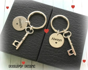 Always couple gift - Wedding gift idea - Couple keyrings - Key to heart keychains - Valentine's gift - Anniversary gift - Couple keychains
