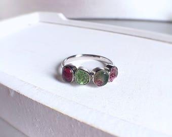 watermelon tourmaline ring, rhodolite ring, garnet ring, multistone ring, gemstone ring, raw crystal ring, raw gemstone jewelry, gift ideas