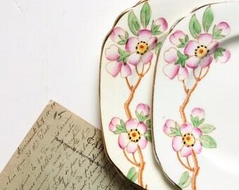 Pink floral sideplates prett vintage china high tea sandwich plates