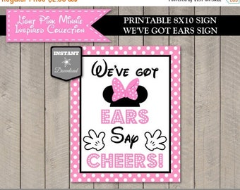 SALE INSTANT DOWNLOAD Light Pink Mouse 8x10 Printable We've Got Ears, Say Cheers Party Sign / Light Pink Mouse Collection / Item #1804