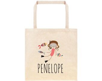 Snorkel Personalized School Tote Bag // Custom Canvas Swimming Book Bag // Ocean Tote Bag Kindergarten //