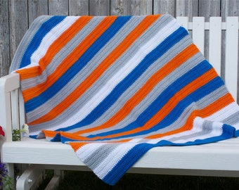 Crochet, half double stitch, Big Blue striped baby/toddler/adult lap blanket
