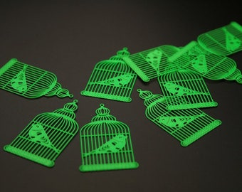 "8 charms pendants ""bird cage"" metal painted (ref:3094)."