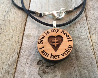 Autism Jewelry-She is my heart-Autism Puzzle Piece Necklace-Autism Art-Art Jewelry-Laser Cut Pendant-Autism Gift