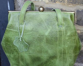 Dolly Frame Bag in Apple Green Leather