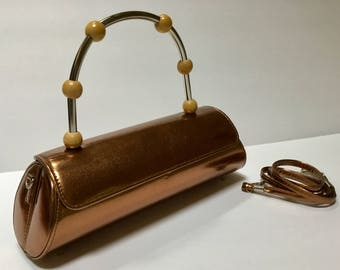 Vintage Metallic Copper Barrel Purse / Top Handle or Shoulder / Mod / Abstract / Evening Bag / Avant-garde / Hipster