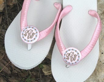 SATIN FLIP FLOPS, Satin Ribbon Wrapped Straps, Satin Buttons, For Bridesmaids, Personalize, Many Satin Colors, Super Comfy Flats or Wedge